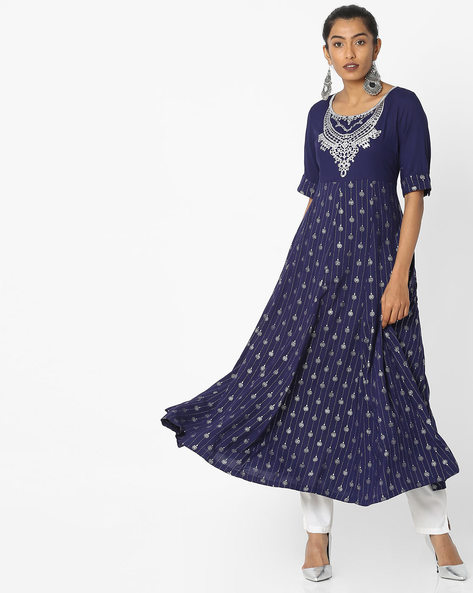 Printed Maxi Dress With Slit Sleeves By Akkriti By Pantaloons ( Blue )