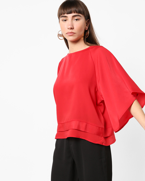 Top With Flared Raglan Sleeves By AJIO ( Red )