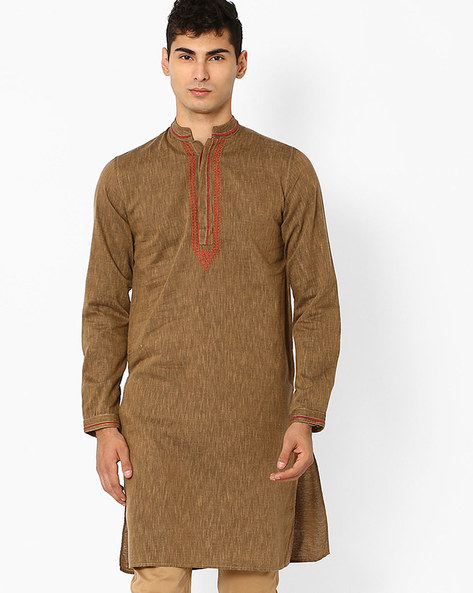 Slim Fit Kurta With Embroidery By FREE HAND ( Beige )