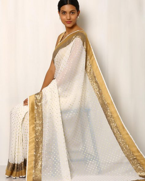 Sequinned Chiffon Saree With Embroidery By Rudrakaashe-MSU ( Multi )