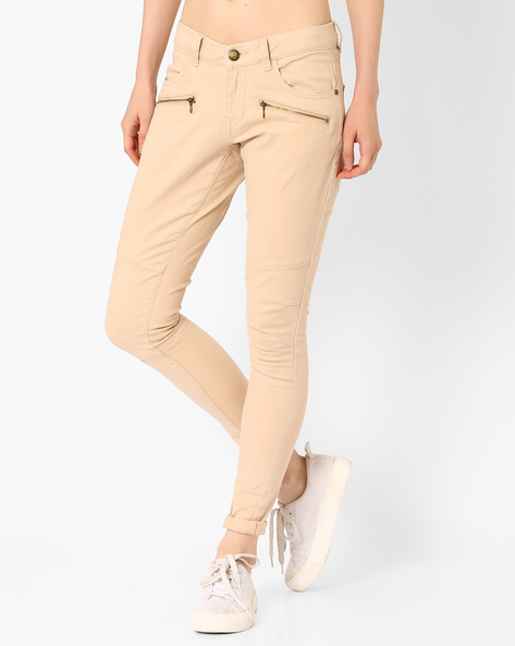 Skinny Fit Trousers With Zip Detail By DNM X ( Khaki )