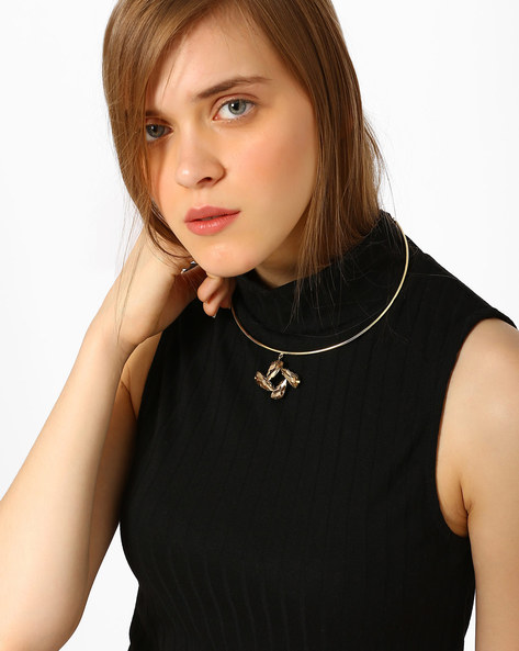 Brass Collar Necklace With Rhinestones By Ssoul ( Gold ) - 460029491001
