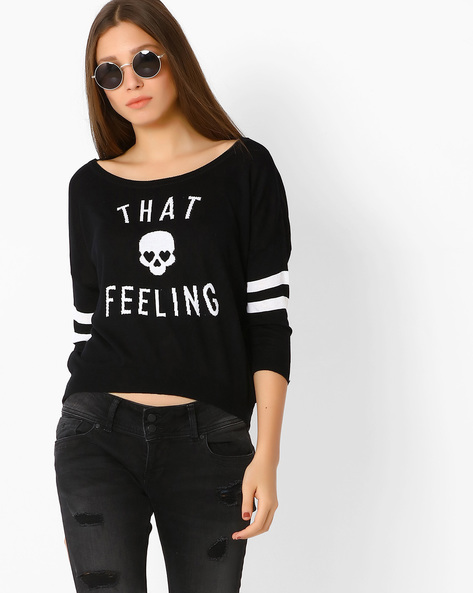 Flatknit Printed Top By Only ( Black )