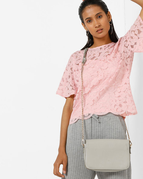 Boxy Lace Top With Tie-Up Back By AJIO ( Pink )