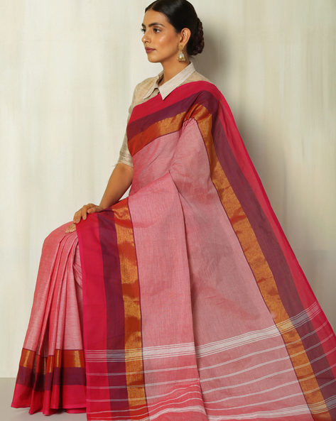 Kanchi Slub Cotton Saree With Woven Border By Indie Picks ( Pink )