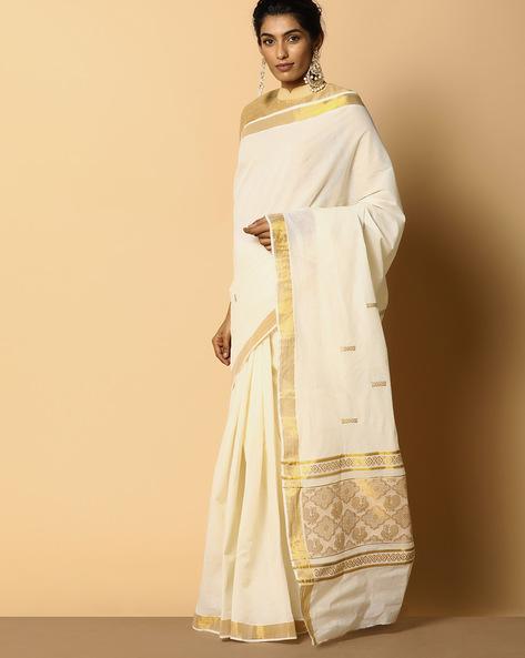 Kerala Kasavu Cotton Saree With Ornate Pallu And Buti By Indie Picks ( Offwhite ) - 460104576001