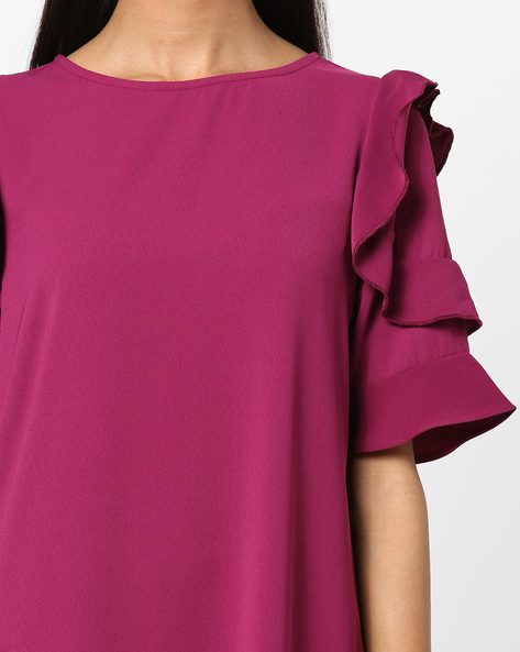 Round-Neck Shift Dress With Ruffled Sleeves By AJIO ( Magenta )