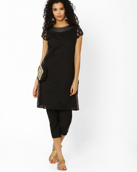Kurta With Capri Set By AJIO ( Black )
