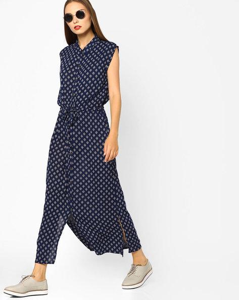 Front-Tie Sleeveless Maxi Dress By BOSSINI ( Navy )