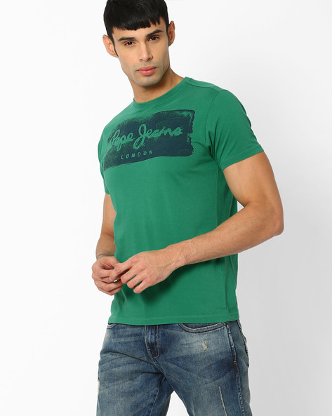 Graphic Print Slim Crew-Neck T-shirt By Pepe Jeans ( Green )