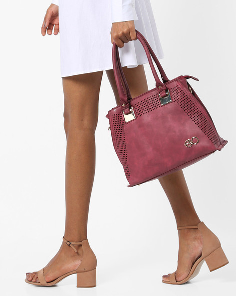 Satchel Bag With Cut-Outs By E2O ( Maroon )