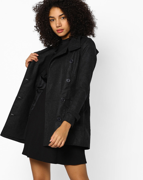 Trench Coat With Notched Lapel By CODE By Lifestyle ( Charcoal )