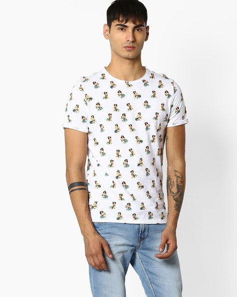 Graphic Print Cotton T-shirt By Celio ( White )