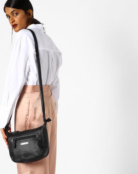 Lilia Textured Sling Bag By CAPRESE ( Black )