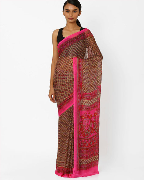 Floral Print Saree With Contrast Border By Akoya ( Rose ) - 460044047002
