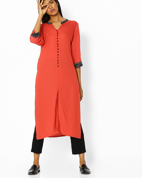Straight Kurta With Front Slit By Shree ( Orange )