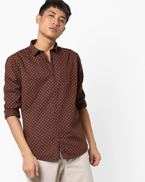 Printed Shirt With Curved Hemline By BASICS ( Brown )
