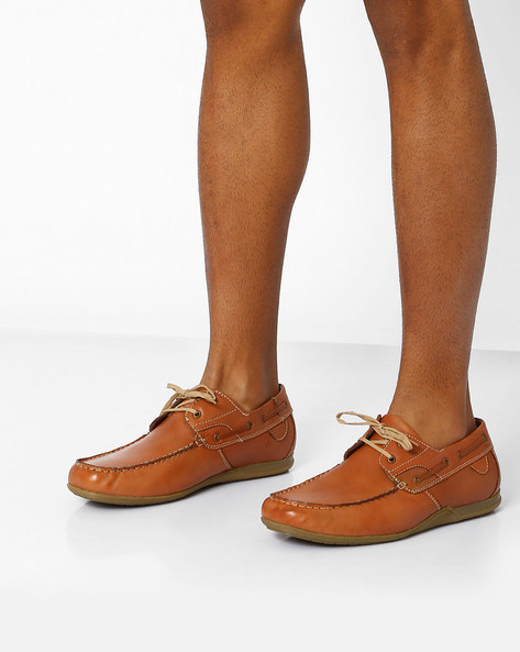 Genuine Leather Casual Shoes By VALENTINO ( Tan )