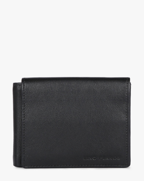 Textured Leather Bi-Fold Wallet By Lino Perros ( Black )