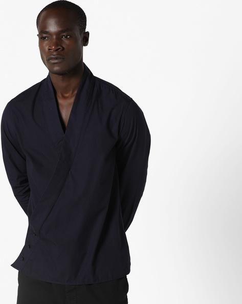 Yukata Slim Fit Shirt With Surplice Neckline By AJIO ( Navy )