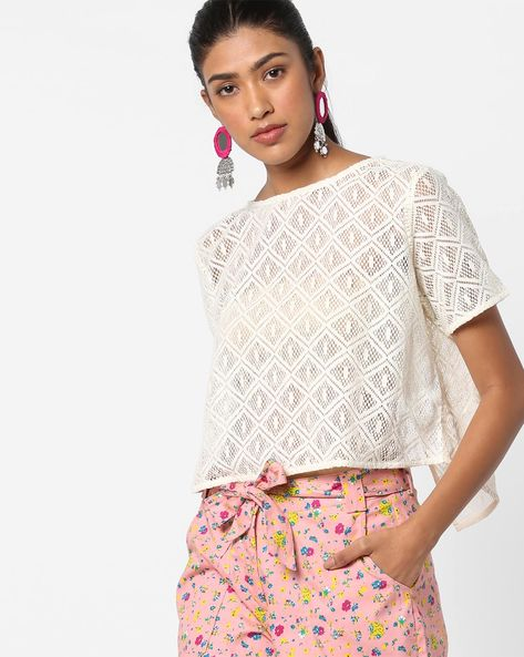 Sheer Boxy Top With Envelope Back By AJIO ( White )