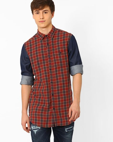 Slim Fit Checked Shirt By ADAMO LONDON ( Multi )
