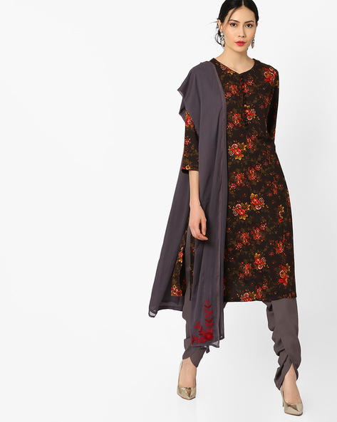 Kurta Suit Set With Embroidered Dupatta By AJIO ( Black )