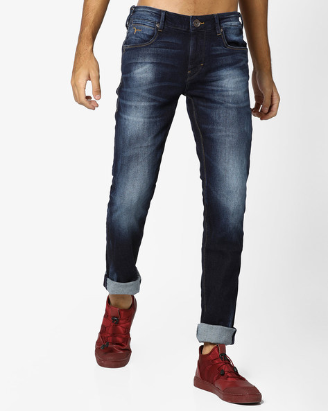 Mid-Rise Washed Michael Jeans By FLYING MACHINE ( Blue )