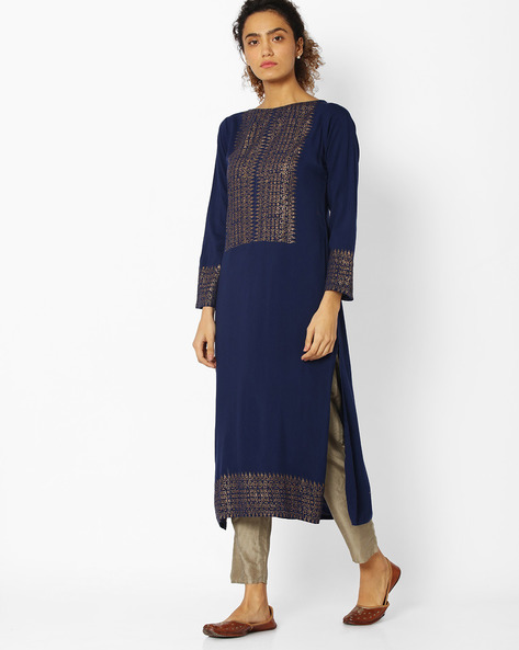 Printed High-Neck Straight Kurta By Libas ( Blue )