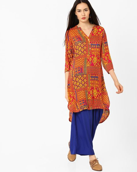 Printed Kurta With High-Low Hem By FUSION ( Pink )