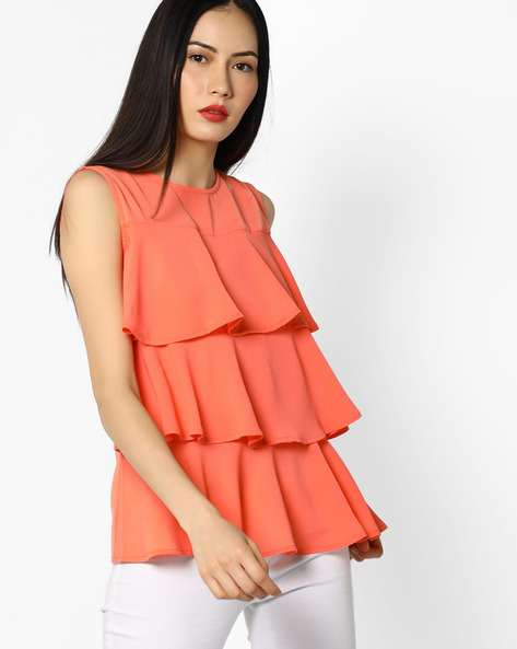 Sleeveless Tiered Peplum Top By Femella ( Peach )