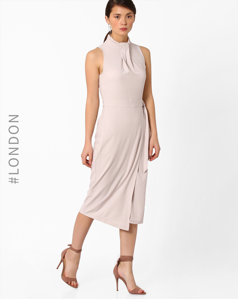 Knot-Neck Waist-Tie Sheath Dress By Closet London ( Grey )