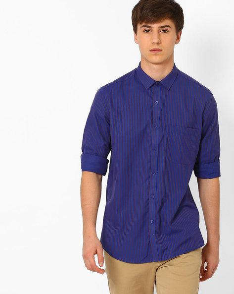 Striped Slim Fit Formal Shirt By British Club ( Blue ) - 460057389001