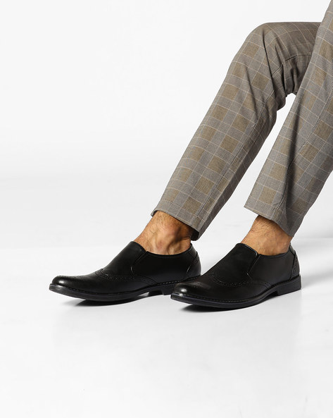 Slip-On Formal Shoes With Elasticated Gussets By ESCARO ( Black )