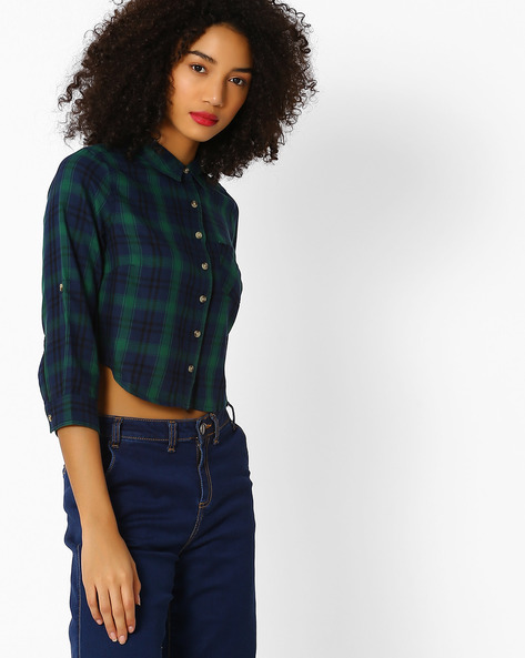 Checked Shirt With Patch Pocket By DNMX ( Green )