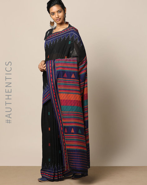 Handloom Dongria Cotton Saree By Indie Picks ( Black )
