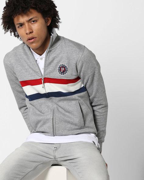 High-Neck Cut & Sew Sweatshirt By PROLINE ( Greymelange )