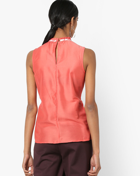 High-Neck Top With Floral Print Tie-Up By AJIO ( Coral )
