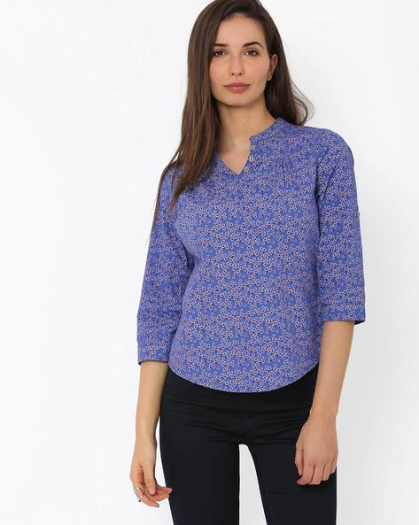 Floral Print Top With Mandarin Collar By DNMX ( Blue )