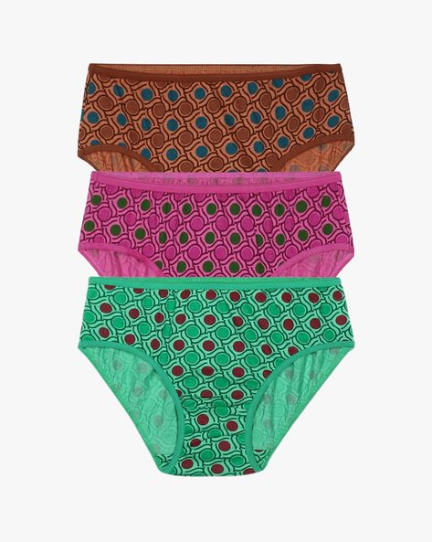 Pack Of 3 Mid-Rise Cotton Briefs By Zivame ( Multi )