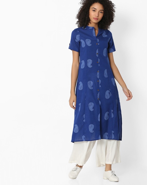 Paisley Print Kurta With Button Placket By AVAASA MIX N' MATCH ( Navy )