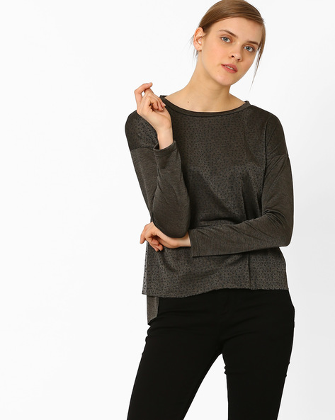 High-Low T-shirt With Drop-Shoulder Sleeves By FIG ( Medgrey )