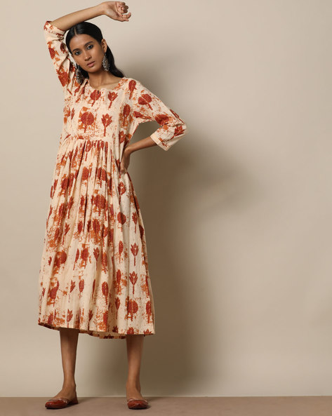 Printed Cotton Gathered Midi Dress By Seasons ( Brown )