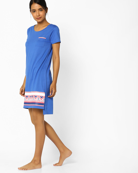 Nightdress With High-Low Hem By Slumber Jill ( Blue )