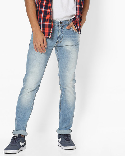 Lightly-Washed Slim Fit Jeans By Pepe Jeans ( Blue )