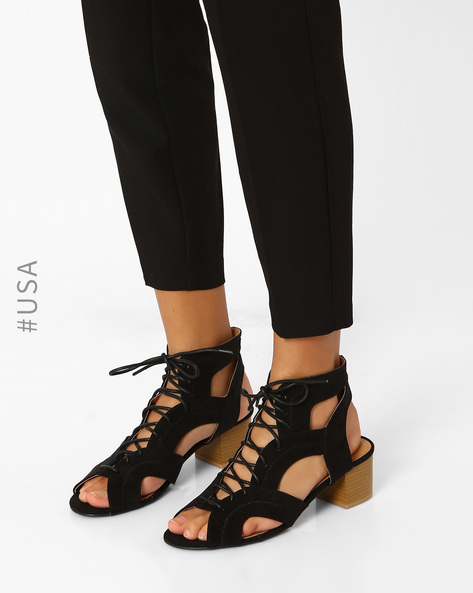 Block Heel With Lace-Ups By QUPID ( Black )