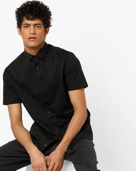 Slim Fit Shirt With Curved Hemline By Celio ( Black )