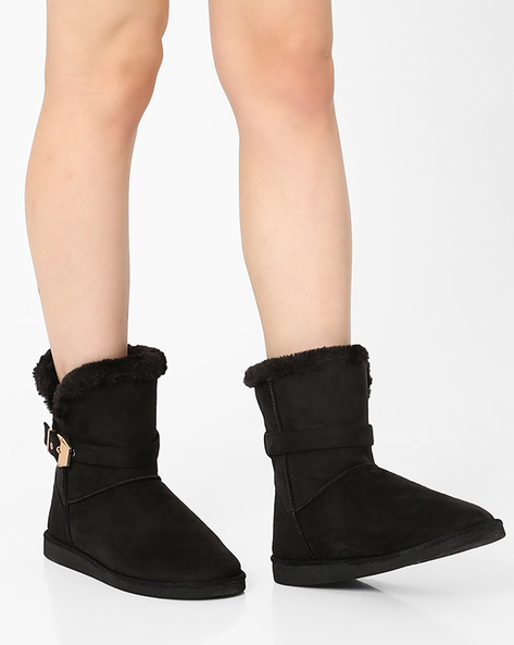 Ankle-Length Boots With Stitch Detailing By Carlton London ( Black )