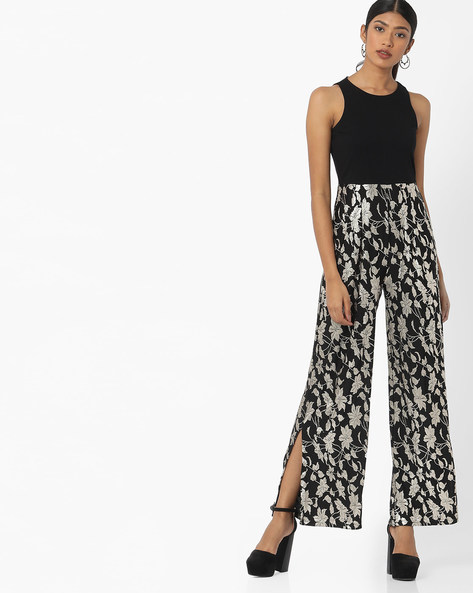 Floral Print Sleeveless Jumpsuit By Vero Moda ( Black )