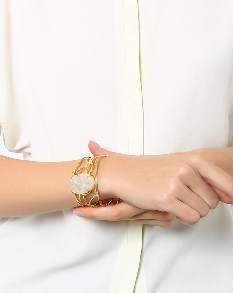 Cuff Bracelet With Textured Bead By AJIO ( White )